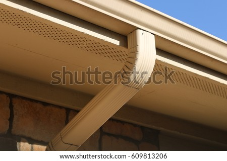 Rain Water Drain Pipes At The Roof Of A House