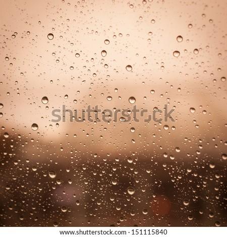 Rain Water drops background - stock photo