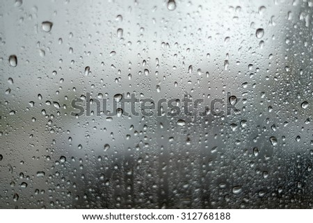 Rain water drops on a glass , Abstract Backdrop - stock photo