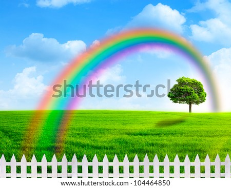 Rainbow. Abstract natural backgrounds with rainbow - stock photo