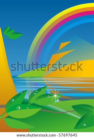 rainbow after the storm, lake and rock at sunset, decorative composition