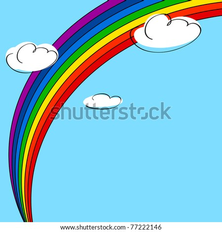 Rainbow and clouds background illustration