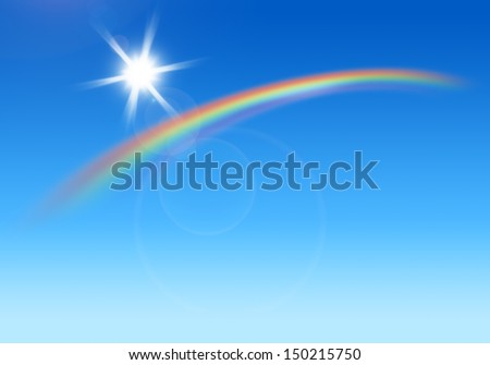 Rainbow and the sun shining in the blue sky - stock photo