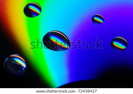 rainbow and water drops - stock photo