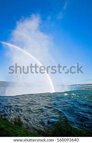 Rainbow at Niagara Falls, Ontario, Canada - stock photo