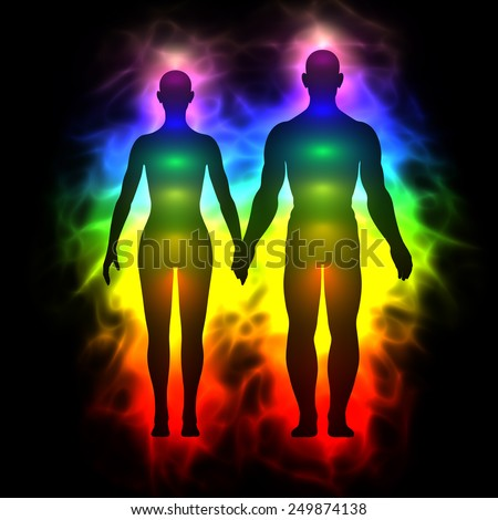 Rainbow aura of woman and man - stock photo