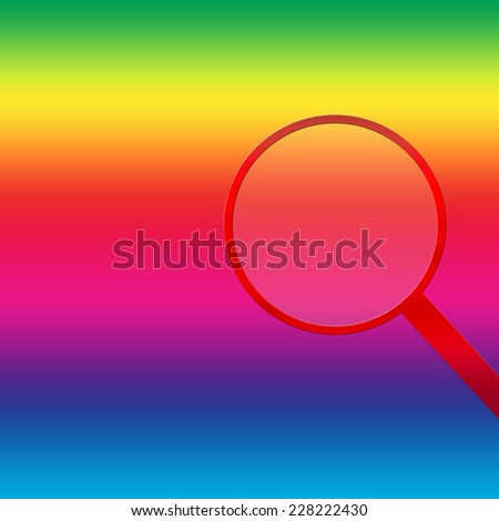 Rainbow background with red magnifying glass on the right side of illustration. - stock photo