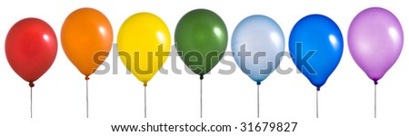 Rainbow balloons on white background - stock photo