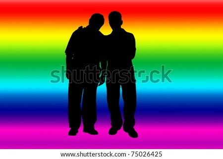 Rainbow banner with gay silhouettes - stock photo