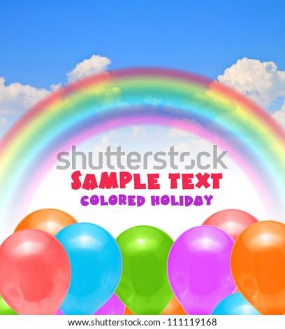 rainbow blue summer sky balloons for decoration holiday - stock photo
