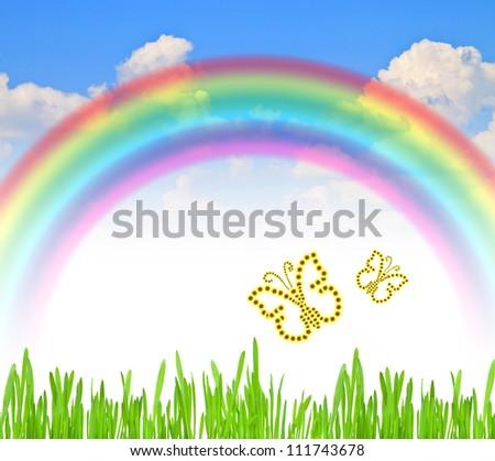 rainbow blue summer sky green grass  colorful flowers summer butterflies - stock photo