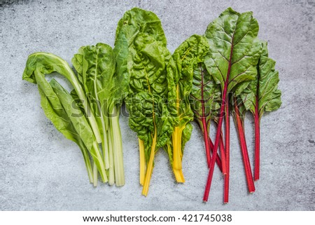 Rainbow chard, clean eating and dieting concept, from above - stock photo
