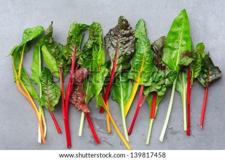 Rainbow Chard leaves - stock photo