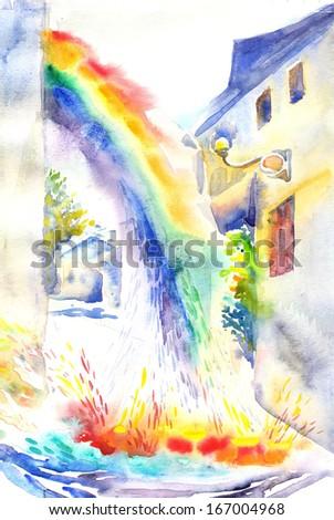 Rainbow, City Landscape. Illustration. Watercolor Painting. - stock photo