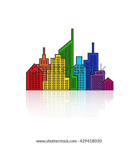 Rainbow cityscape design. Abstract building background