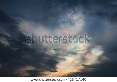 Rainbow cloud , dark cloud in evening in rainy season ,thailand