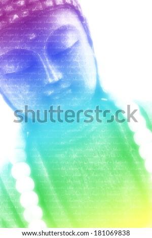 Rainbow color Buddha background - Om Shanti - stock photo