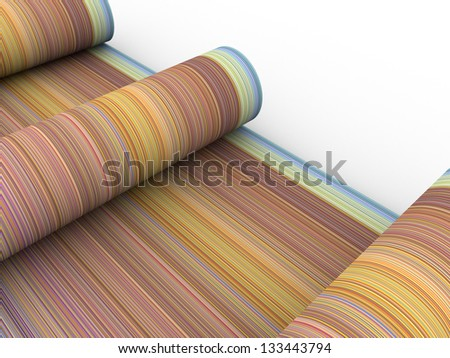 rainbow color cylinder scroll shape on white - stock photo