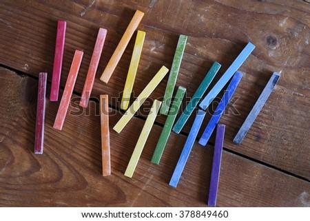 Rainbow color oil chalks - stock photo