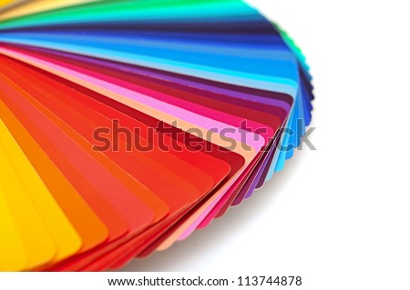 Rainbow color palette isolated on white - stock photo