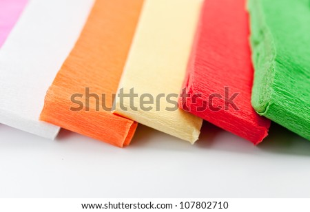 rainbow color paper isolated on white background.