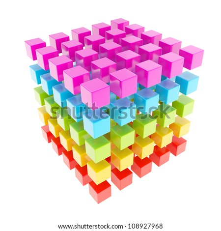 Rainbow colored glossy cube composition broken into smaller ones isolated on white - stock photo
