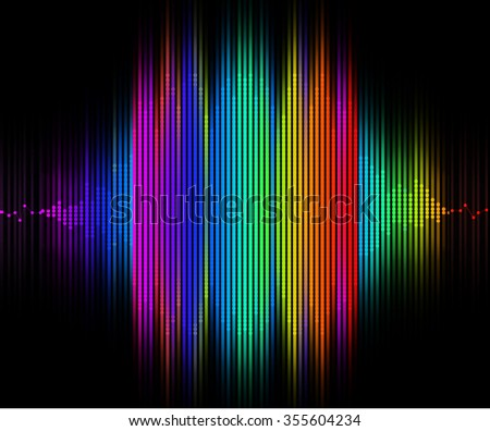 Rainbow Colored Sound Wave Wide - stock photo