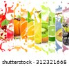 Rainbow colorful fruit stripe collection with splash on white background - stock photo