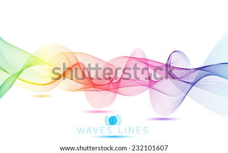 rainbow colorful gradient light waves line bright abstract pattern raster