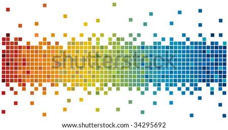 rainbow colors pixels - stock photo