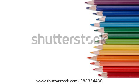 Rainbow Colour Pencils Isolated - stock photo