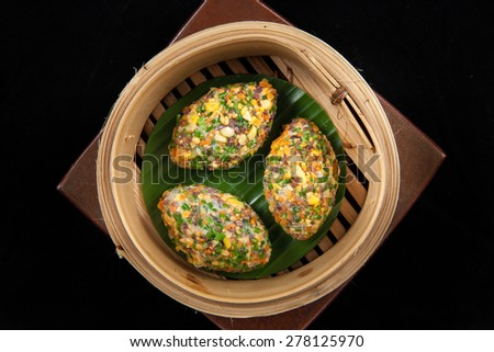 Rainbow Dim-Sum top view - stock photo