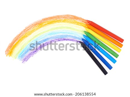 Rainbow drawn with the wax crayons, isolated over the white background - stock photo