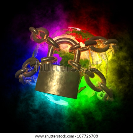 Rainbow Earth with aura breaking golden chain - change of world - stock photo