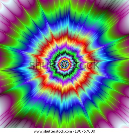 Rainbow Explosion /  An optically challenging fractal image with a color explosion design in green, red, blue, orange, yellow and violet.