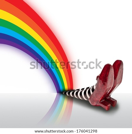 Rainbow Fallen on the Wicket Witch - stock photo