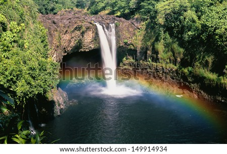 Rainbow Falls Hawaii - stock photo