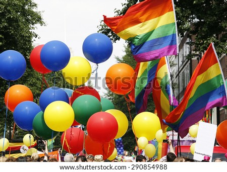 Rainbow flag in London's Gay Pride - stock photo
