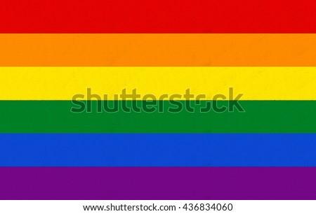 Rainbow flag, lgbt community sign - stock photo