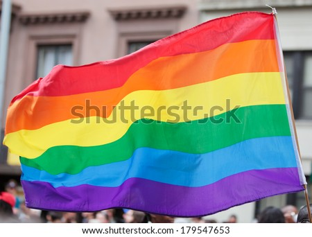Rainbow Flag on the Pride Parade.