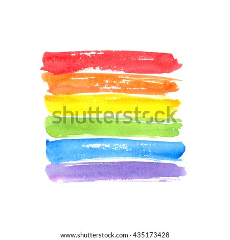 Rainbow flag, symbol of gay pride. Watercolor spectrum. Hand drawn paint strokes isolated on white background - stock photo