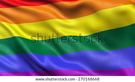 Rainbow flag waving in the wind - stock photo