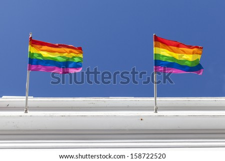 Rainbow flags in Reykjavik - stock photo