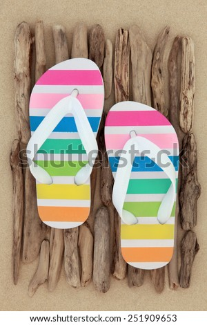Rainbow flip flop shoes on driftwood over beach sand background.