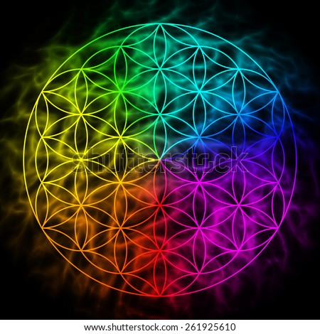 Rainbow flower of life with aura - symbol of sacred geometry - stock photo