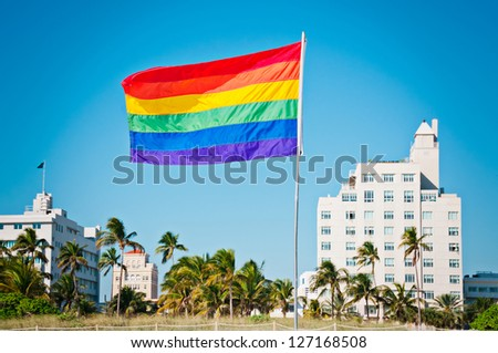 Rainbow Gay Pride Flag, Miami Beach, Florida, USA - stock photo