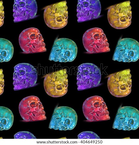 Rainbow Glowing Skulls Dots Seamless Pattern on Black background.
