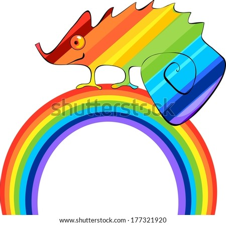 Rainbow ?hameleon and rainbow  - stock photo