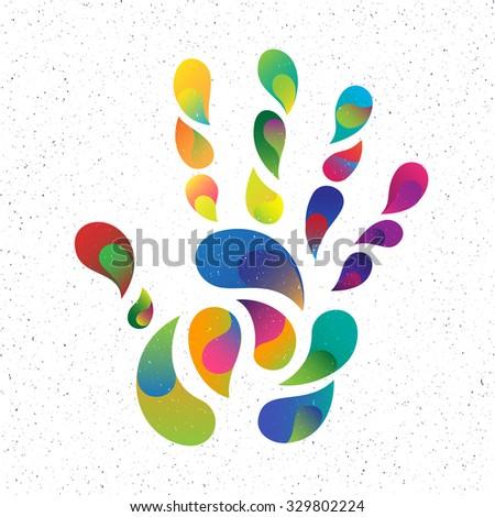 rainbow handprint. rainbow colors of a hand and fingers - stock photo