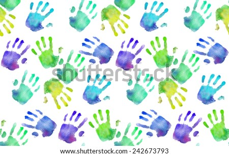 Rainbow handprints. Watercolor pattern